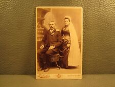 Victorian Antique Cabinet Card Wedding Photo of a Young Couple