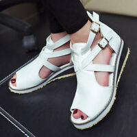 Womens Gladiator Belt Sandal Low Heels Cut Out Buckle Open Toe Ankle Strap Shoes