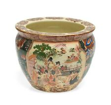 More details for vintage chinese pottery fishbowl painted in the satsuma taste circa 1950's