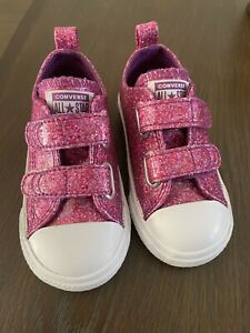 Converse All Star Chuck Taylor Toddler Girls Pink Glitter Shoes~size 7