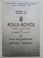 10/1946 PUB ROLLS-ROYCE AERO ENGINES POWER PLANT PARIS GRANDE NEF SALON AD