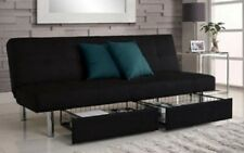 Futon Sofa Bed Storage Couch Convertible Full Size Sleeper Microfiber Beds Sofas
