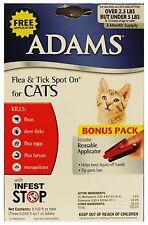 ADAMS* Spot On FLEA & TICK 12 Weeks FOR CATS 2.5-5lbs INFEST STOP Applicator 1/2