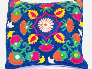 "Mexican Handmade Floral Embroidered Pillow Cover, EUC; 18 "" X 18"""