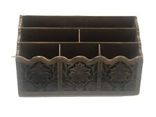 Vintage LERNER Carved Faux Wood Letter Holder Mail Organizer Storage Caddy Desk