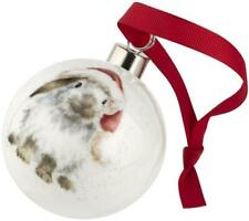 Royal Worcester Wrendale Christmas bauble ceramic Xmas bunny rabbit Ho Ho Ho