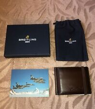 NEW IN BOX VIP Gift Breitling Brown Leather Money Clip Wallet Credit Card Holder