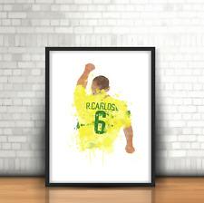 Roberto Carlos - Brazil Inspired Football Art Print Real Madrid Brazilian No. 6