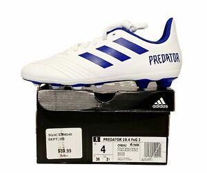 Adidas Predator 19.4 FXG J Soccer Cleats Youth White Blue CM8542 Size 4