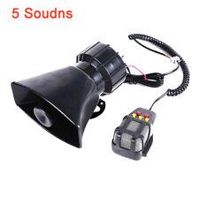 5 Sound 12V 100W Alarm Police Air Horn Car Warning Siren Speaker Super Loud Tone