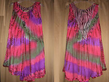 OSFM Tunic Embroidered Tie Dye Purple Green Red Long ScoopNeck NWT  XL 1X