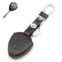 For Toyota Camry Corolla RAV4 Prado Car Auto Key Case Cover Holder Black Leather