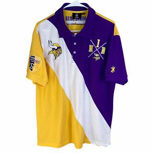 Minnesota Vikings Polo Shirt XL Yellow Purple Cotton NFL Team Apparel Knit S/S