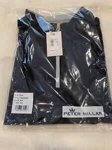 NEW Peter Millar Crown Sport 1/4 Zip Black Stretch Pullover Men's XXL