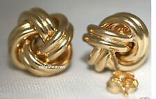 "15mm CLASSIC Italian 2.6g Solid 14K Yellow Gold LOVE KNOT Stud Earrings 0.59""BIG"