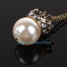Charm Girl Big Pearl Pendant Long Necklace Retro Vintage Style Rhinestone Crown