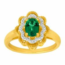 7/8 Ct Created Emerald Ring With Diamonds in 14k Gold Over Sterling Silver
