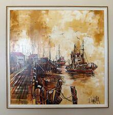 "J. Wallker STUNNING MCM Mid century modern seascape Nautical Huge painting 37"""