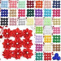 40pcs 30mm Satin Ribbon Flower w/Rhinestone Sewing Wedding Appliques DIY Craft