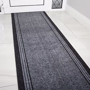 NEW Grey Rubber Backed Very Long Hallway Hall Runner Narrow Rugs Custom Length