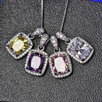 Damen Halskette Silber 925 Rechteck Zirkonia Anhänger 6 Farbe Damen Geschenk Neu