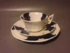 Coalport Cobalt Blue Batwing Trio Cup Saucer Plate Antique *hairline