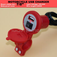MOTORCYCLE WATERPROOF USB CHARGER POWER SUPPLY FOR CELLPHONE GPS 12-24V 1.5A