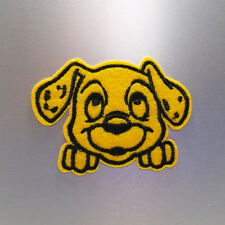 Yellow Dalmatian Patch — Iron On Badge Embroidered Motif — Cute Dog Cartoon