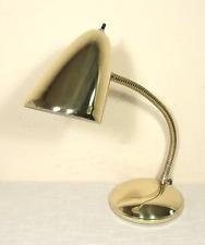 Vtg BRASS Gooseneck Desk Table Lamp (60s/70s) Eames/Mid Century CONICAL SHADE!