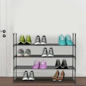 UK 4 Tier Metal Shoe Rack Shelf Space Saving Storage Organiser High Quality