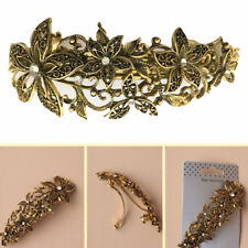 Antique Gold Crystal Hair Clip Flower Barrette Vintage Clamp Rhinestone Metal S