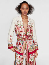 Deep V-neck Floral Bandage Casual Blazers With Waistband - Red