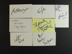 LOT of SEVEN UNIDENTIFIED AUTOGRAPH INDEX CARDS~