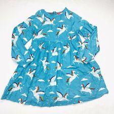 Mini Boden Rainbow Pegasus Unicorn Shift Dress Sz 8-9 Yrs Girls Blue Long Sleeve
