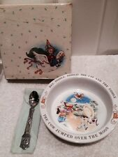 Avon Baby Keepsake Glass Bowl with Spoon in Box Mother Goose