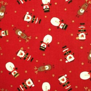 100% Cotton Christmas Red Cute Novelty Father Christmas Fabric 60 x 70 cm