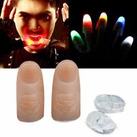 2 Pcs LED Magic Light Up Thumb Party Bar Props Fingers Trick Lights Prank Novel