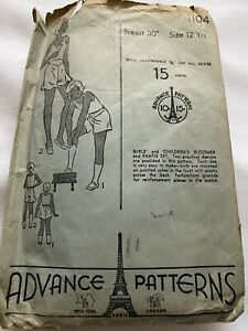 Antique Advance Sewing Pattern Girls And Children's Bloomer And Panties 1920's