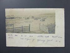 Krupp Washington WA Town View Postcard RPPC 1907 Meat Market Drug Store Horses