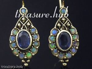 E128 Genuine 9ct 9K Yellow Gold Natural Sapphire & Opal Earrings Vintage style
