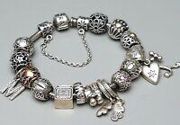 Pandora Armband 925 Silber, 585 Gold, Diamanten 17 Beads - 18 cm lang A 903