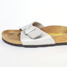 BIRKENSTOCK Women Madrid Birko-Flor Slip-On Sandal Silver Metallic 39N 8 8.5