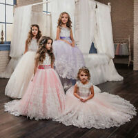 ABAO Children's Girls' Lace Butterfly Bow Rhinestone Dress Flower Girl Ball Gown