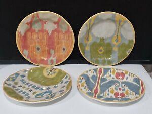 "Set of 4 POTTERY BARN Ikat Pattern Multicolored 9"" Dinner Salad Desert Plates"