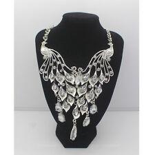 Fashion Charm Pendant Chain Crystal Jewelry Choker Chunky Statement Bib Necklace Ns65 Silver