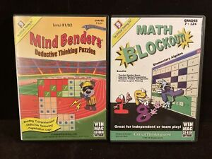 Lot Of 2- The Critical Thinking Co. Math Blockout & Mind Bender (CD) Win/Mac.
