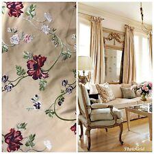 SALE! Designer 100% Silk Taffeta Embroidery Fabric - Antique Beige