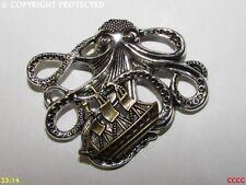 steampunk brooch badge pin silver kraken octopus bronze ship pirate
