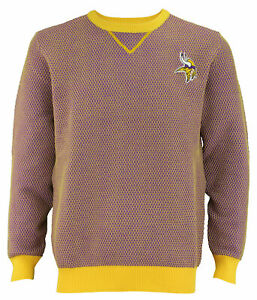 FOCO NFL Men's Minnesota Vikings Poly Knit Crew Neck Sweater, Purple