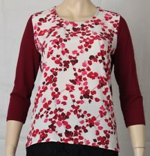 DAVID LAWRENCE Size S (10) Burgundy Floral Silk-Front Tee, Blouse, TOP